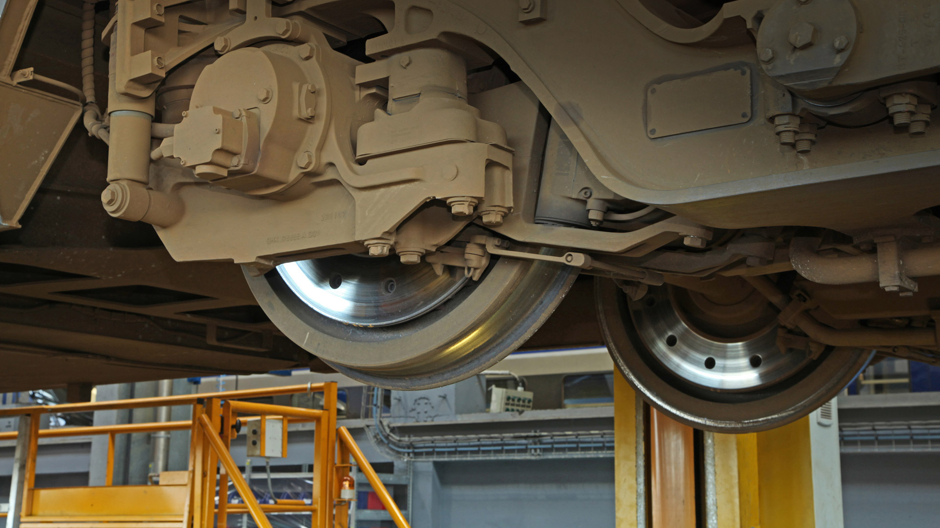 Detail shot of the train bogie stands for Predictive Maintenance